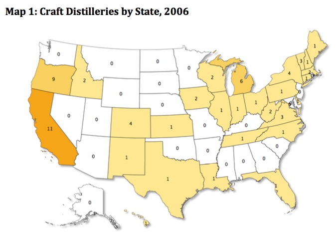 craft distilleries by state 2006